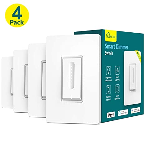 Single-Pole TESSAN Dimmable Wifi LED Light Dimmer Switch Google Assistant Smart Life APP Smart Dimmer Switch No Hub Need Neutral Wire 4 Pack Compatible with Alexa