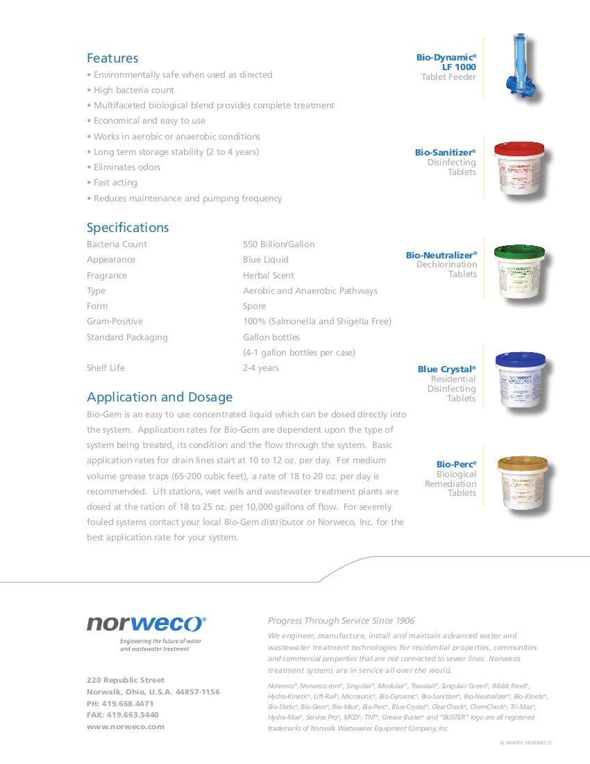 norweco bio-gem orgánico digestor - 1 caso - 4 litros - gran ...