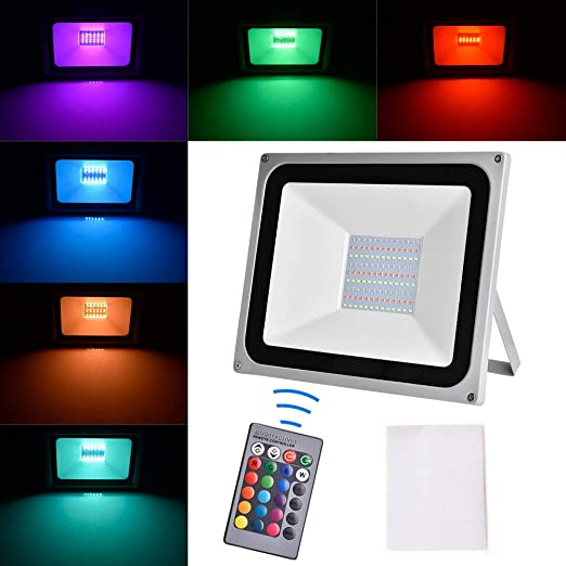 Amazon Com 100w Rgb Led Flood Light Without Memory Function Sararoom 8000 Lumen Ip65 Waterproof Color Changing Outdoor Spotlight With Remote Control 16 Colors 4 Modes Dimmable Led Wall Washer Light No Plug