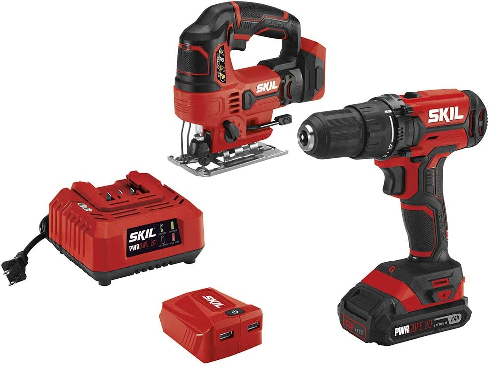 SKIL 20V 3-Tool Combo Kit 20V Cordless Drill Driver, Jigsaw and PWRAssist 20 USB Charging Adapter, Includes 2.0Ah PWRCore 20 Lithium Battery and Charger – CB739501