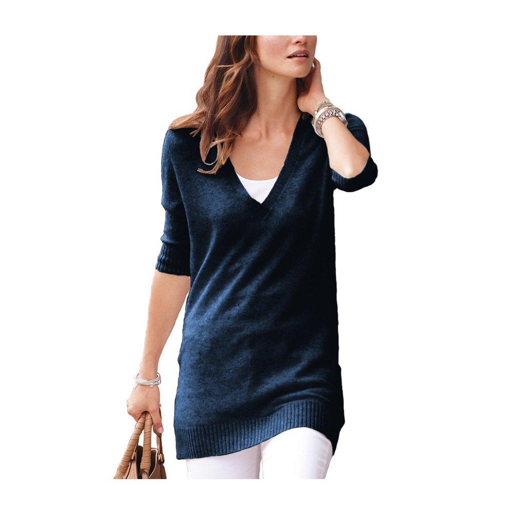 Parisbonbon Women's 100% Cashmere V-Neck Sweater Color Midnight Blue Size XL