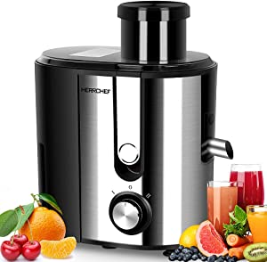 HERRCHEF Juicer Machines, 600W Juice Extractor with 3'' Big Mouth Feed Chute, Anti-drip Compact Juicer Machines Vegetable and Fruit , Easy to Clean, BPA-Free Stainless Steel Centrifugal Juicer