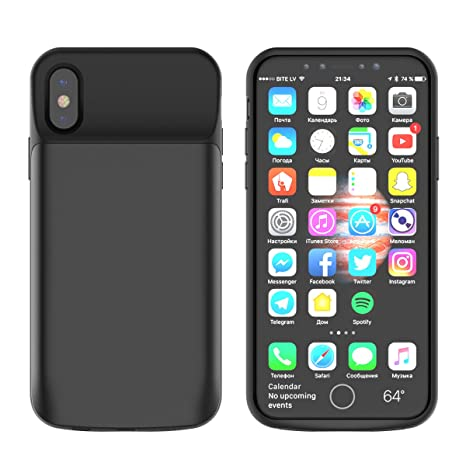 Funda Bateria iPhone X Carcasa, 6000mAh Battery Case Externa Backup Pack Funda Rechargeable Cargador Carcasa Slim Batería Power Bank Protective Cover ...