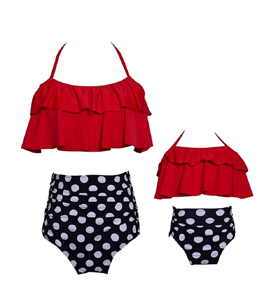 Vanbuy Womens Girls Kids Bikini Swimsui Set Family Matching Bathing Suits Flounce Swimwear