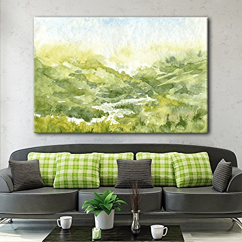 Watercolor Style Mountain Valley Green Grass in Spring