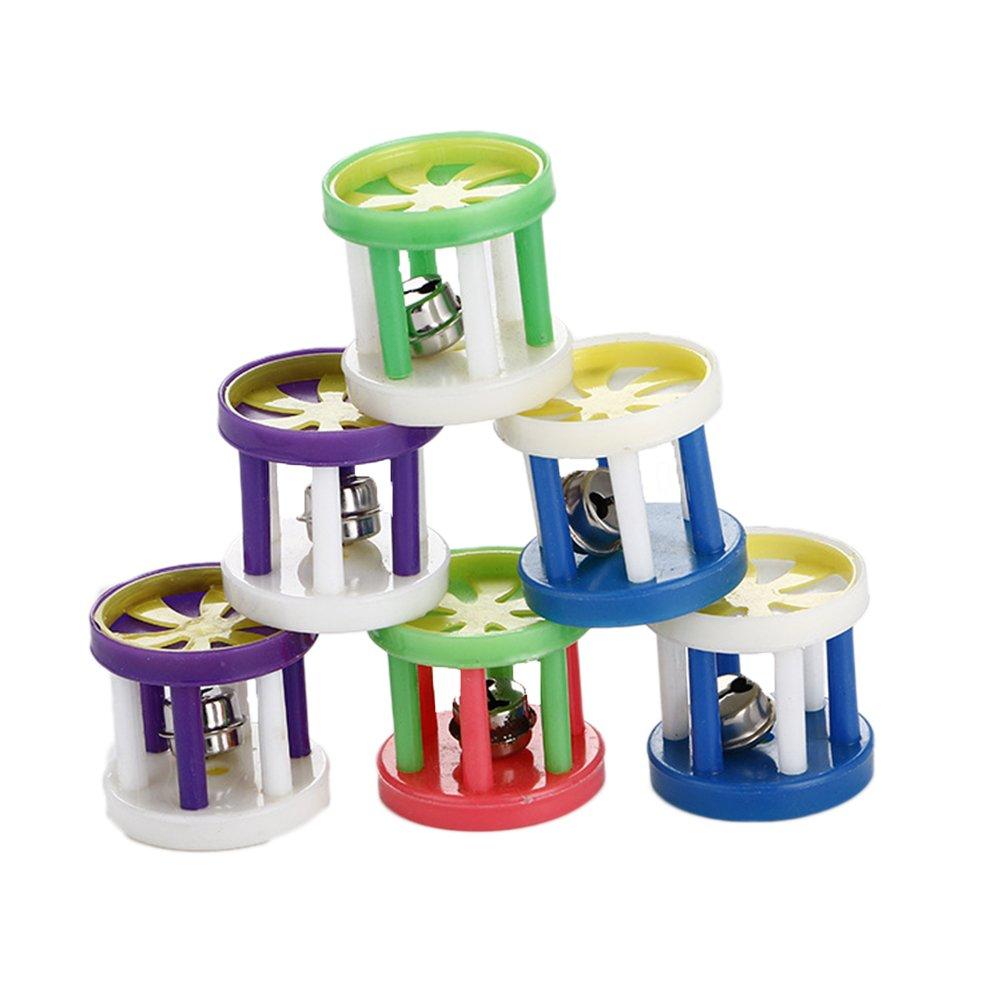 ueetek 5colores de plástico bola a bola campana perro gato peludo Juguete Pequeño pelota Sonora (Color aleatorio)