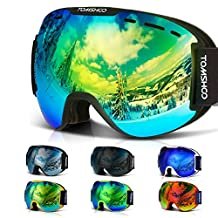 TOMSHOO OTG Ski Goggles Windproof Dustproof Anti-Fog UV Protection Spherical Wide Vision Double Lens Detachable Strap Multicolor Goggles For Snowmobile Skiing Skating