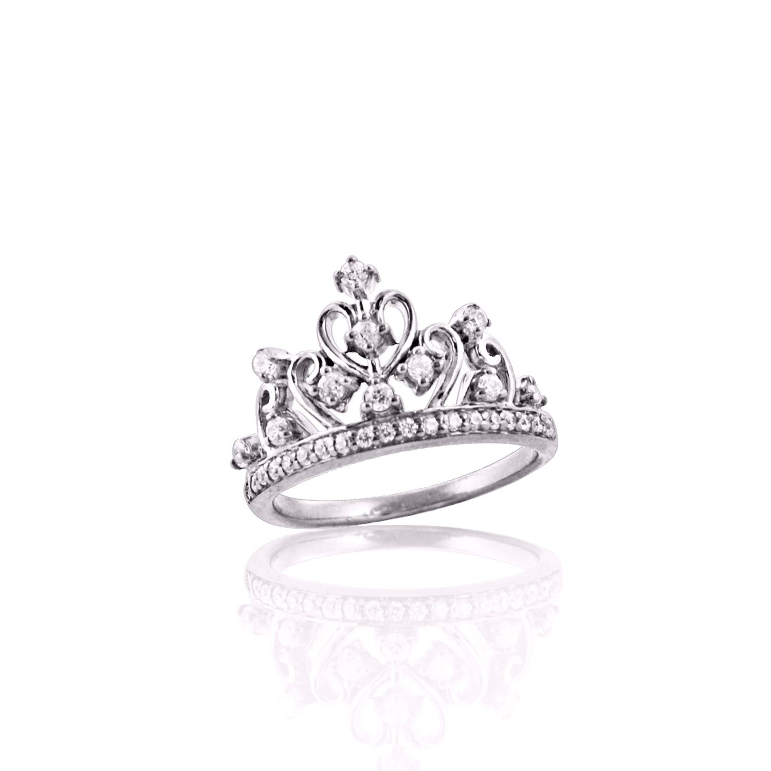 Diamond Scotch Round White Cubic Zirconia Tiara Princess Queen Crown Ring Best for Women Girls in 14k White Gold Over