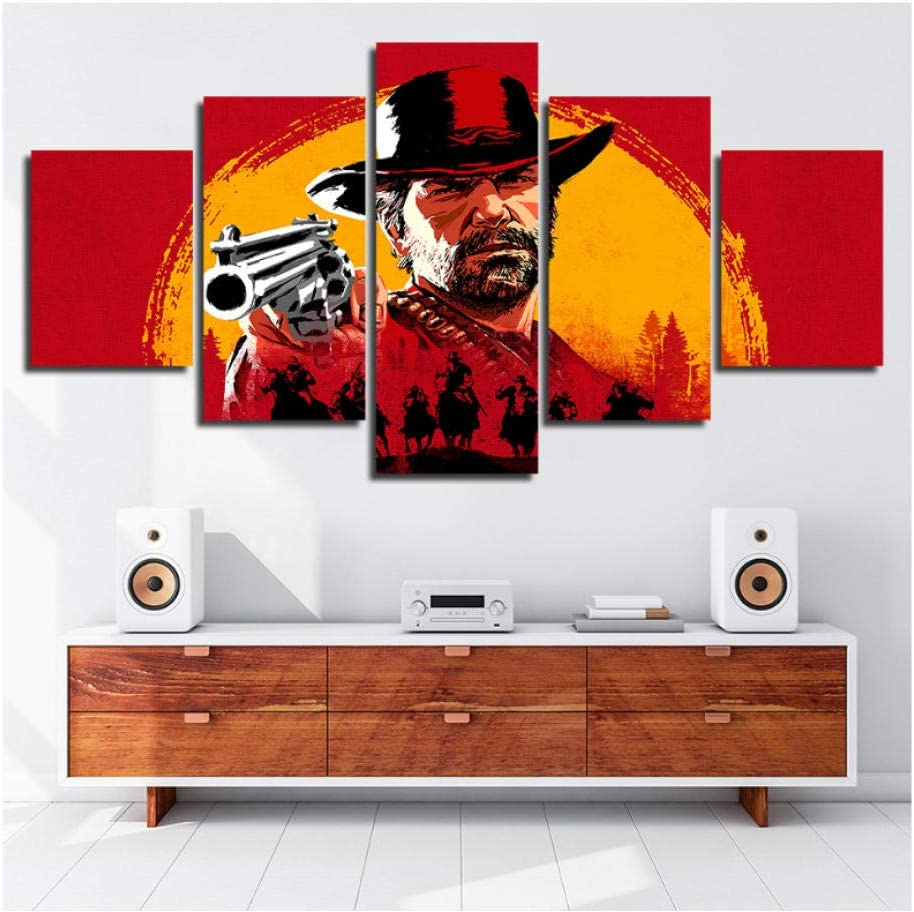 wangyubing Pintura de la Pared para la Sala de Estar Impresiones HD 5 Unidades Red Dead Redemption 2 Juegos Lienzo Marco de Imagen Cartel Modular Obras de Arte Decoración: Amazon.es: Hogar
