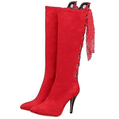 AIYOUMEI Damen Spitz Zehen Kniehohe Stiefel mit 10cm Absatz und SpitzenbäNder Stiletto High Heels Elegant Winter Stiefel zGVoGu