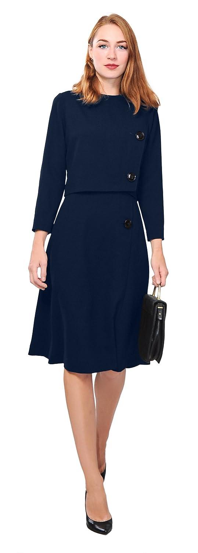 Vintage Suits Women | Work Wear & Office Wear Marycrafts Womens Elegant Dress Work Office Lined Tea Midi Dress $42.90 AT vintagedancer.com