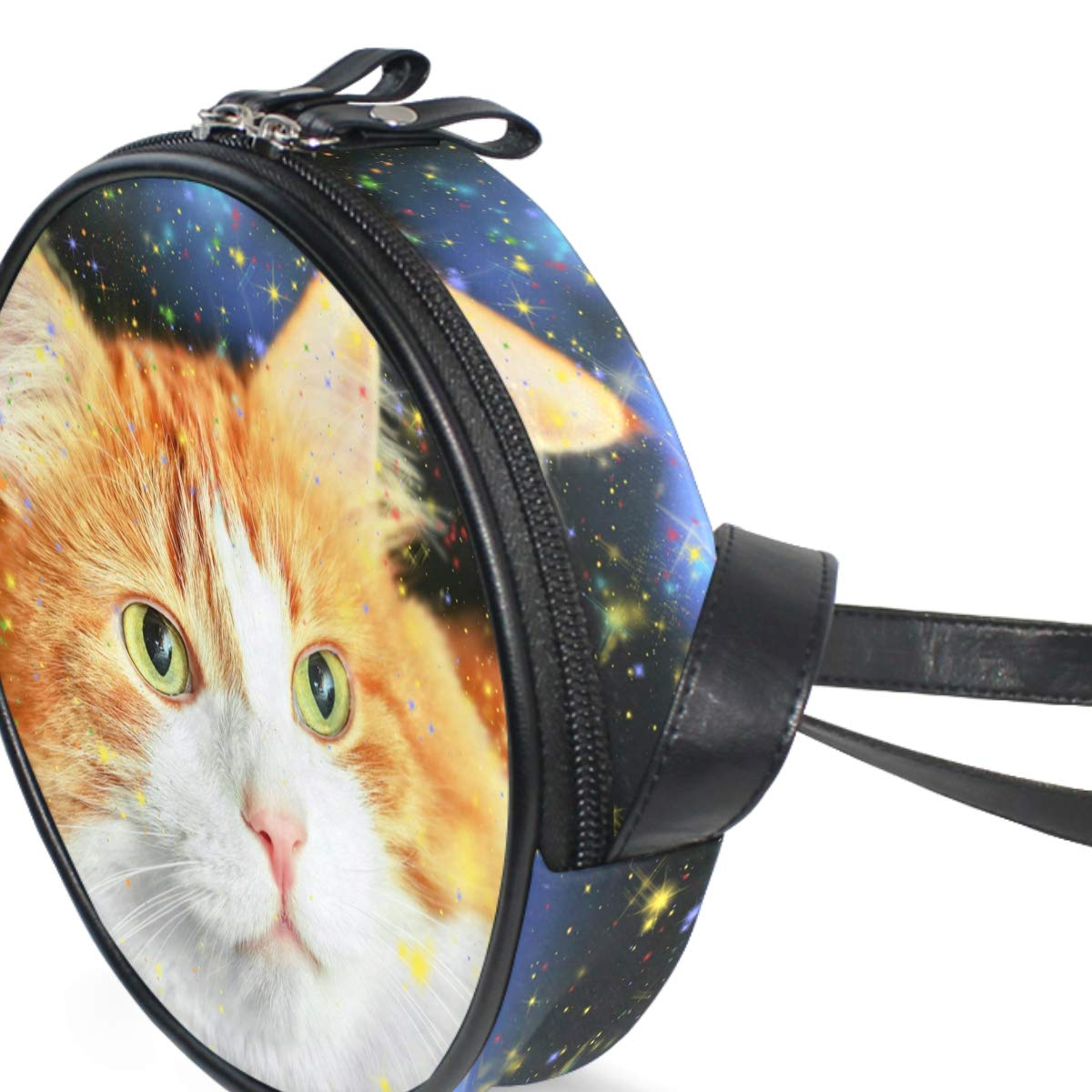 Cute Cat and Stars Small Round Canvas Crossbody Messenger Bags for Women