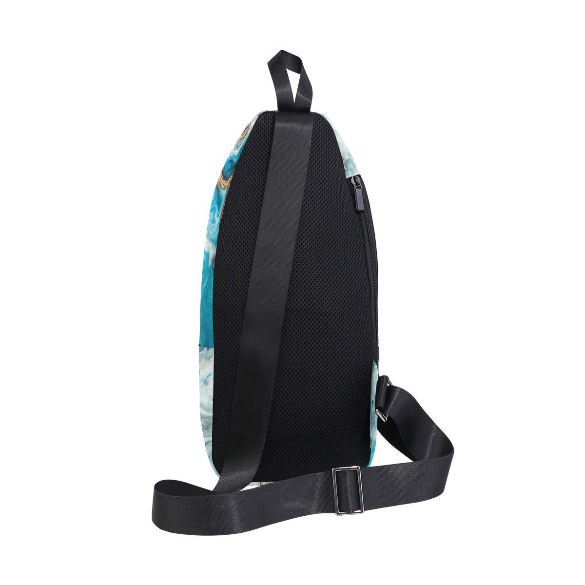 TFONE Abstract Marble Grain Crossbody Bag Lightweight Chest Shoulder Messenger Pack Backpack Sling Bag