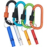 3Bears Aluminum Carabiner Screw Lock D-ring Clip Hook Outdoor Buckle with Cute Random Color&Size Whistles for Camping Hiking Fishing Gear (Pack of 4)