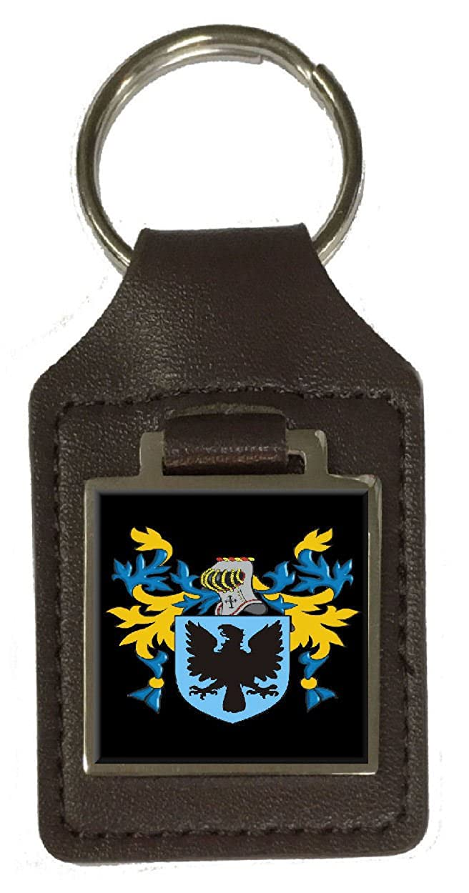 Burnett Family Crest Surname Coat Of Arms Brown Leather Keyring Engraved