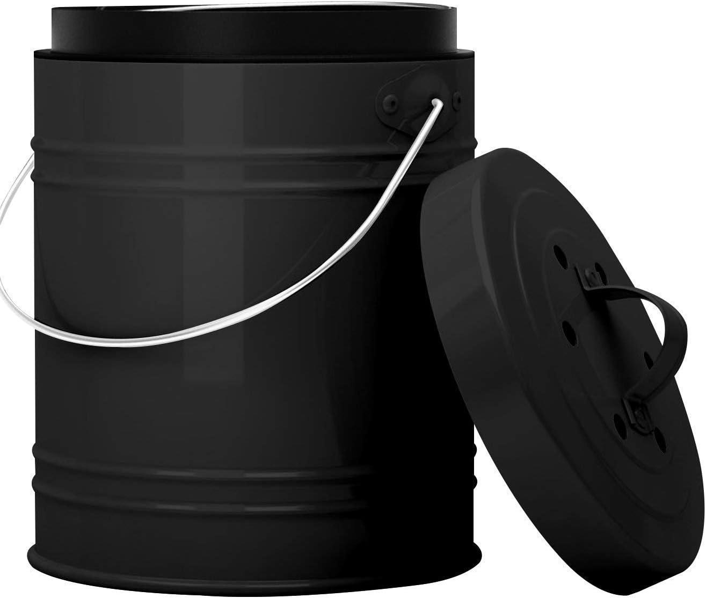 Cubo para Compost de 5 litros con Revestimiento de Plástico y Filtros de Carbón en Negro