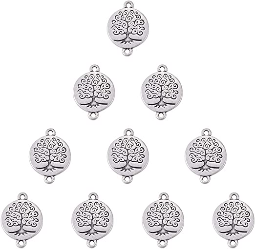 10pcs Antique Silver Tree of Life Star Charm Jewelry Making Bracelet Accessories