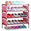Fkuo Shoes Shelf Easy Assembled Non Woven 4 Tier Shoe Rack Shelf Storage Organizer Stand Holder Keep Room Neat Door Space Saving Pink 57 5 X 26 X 64cm