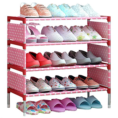 FKUO Shoes Shelf Easy Assembled Non-Woven 4 Tier Shoe Rack Shelf Storage Organizer Stand Holder Keep Room Neat Door Space Saving (Pink, 57.5 x 26 x 64cm)