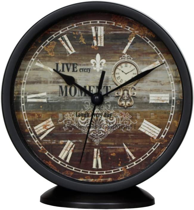 Classic Silent Desk Clock, 6 Inch Black Non-ticking Decor Wall Clock Easy to Ready For Kitchen/Bathroom/Office
