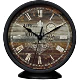 Classic Silent Desk Clock 6 Inch Non-Ticking Decor Black Wall Clock Easy to Ready for Kitchen Bathroom Office