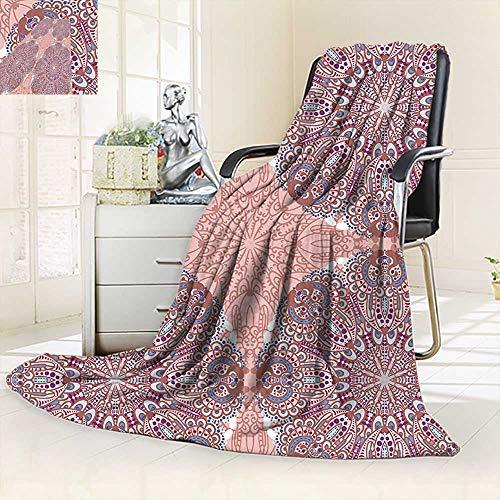 vanfan Supersoft Fleece Throw BlanketArabesque Round Patterns in Oriental Islamic Eastern Persian Religious Motif Artprint,Silky Soft,Anti-Static,2 Ply Thick Blanket. (90''x70'') by vanfan