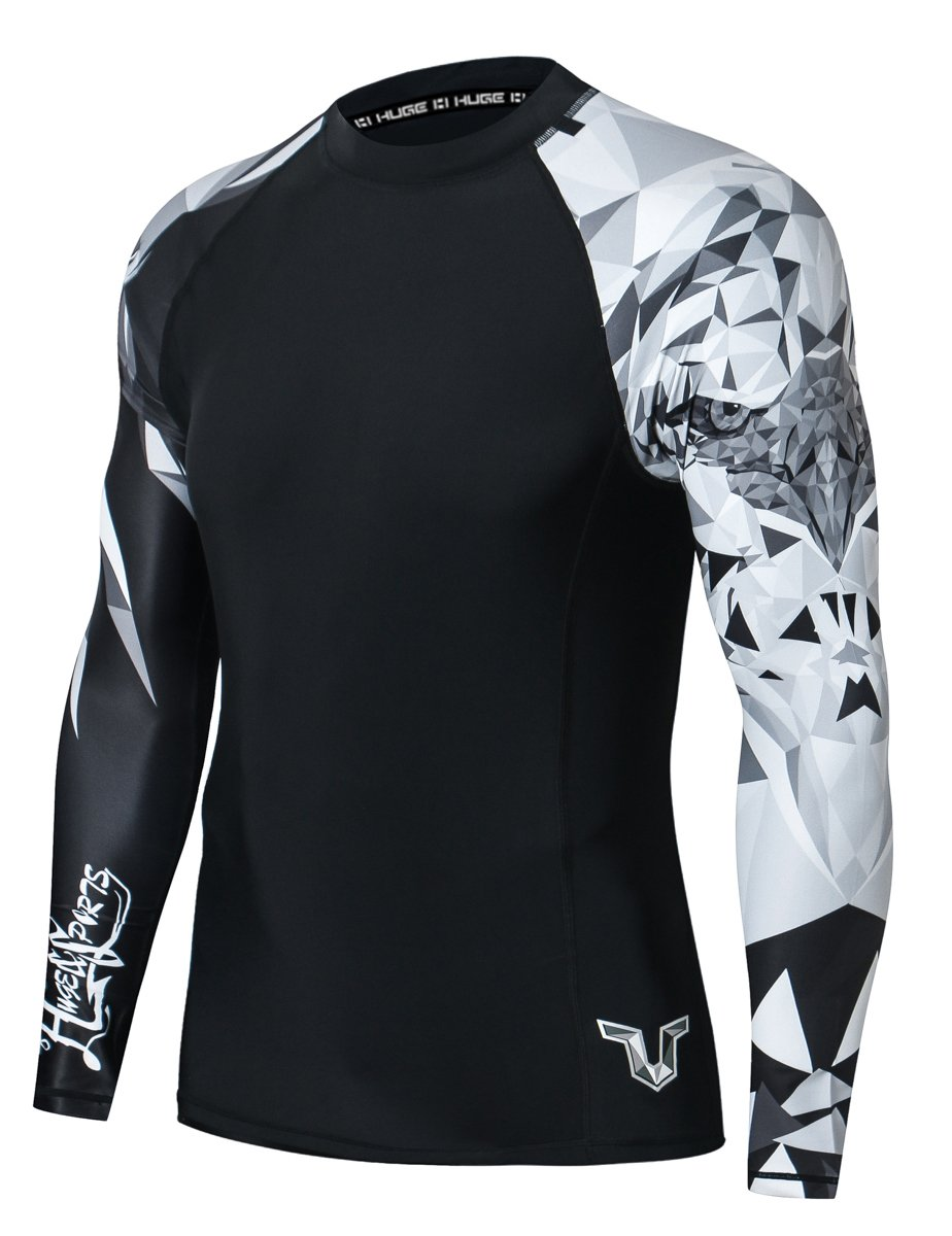 HUGE SPORTS Wildling Series UV Protection Quick Dry Compression Rash Guard (Eagle,M) by HUGE SPORTS
