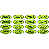 Car Lot Windshield Oval Model Year Stickers 20 packs Chartreuse and Black