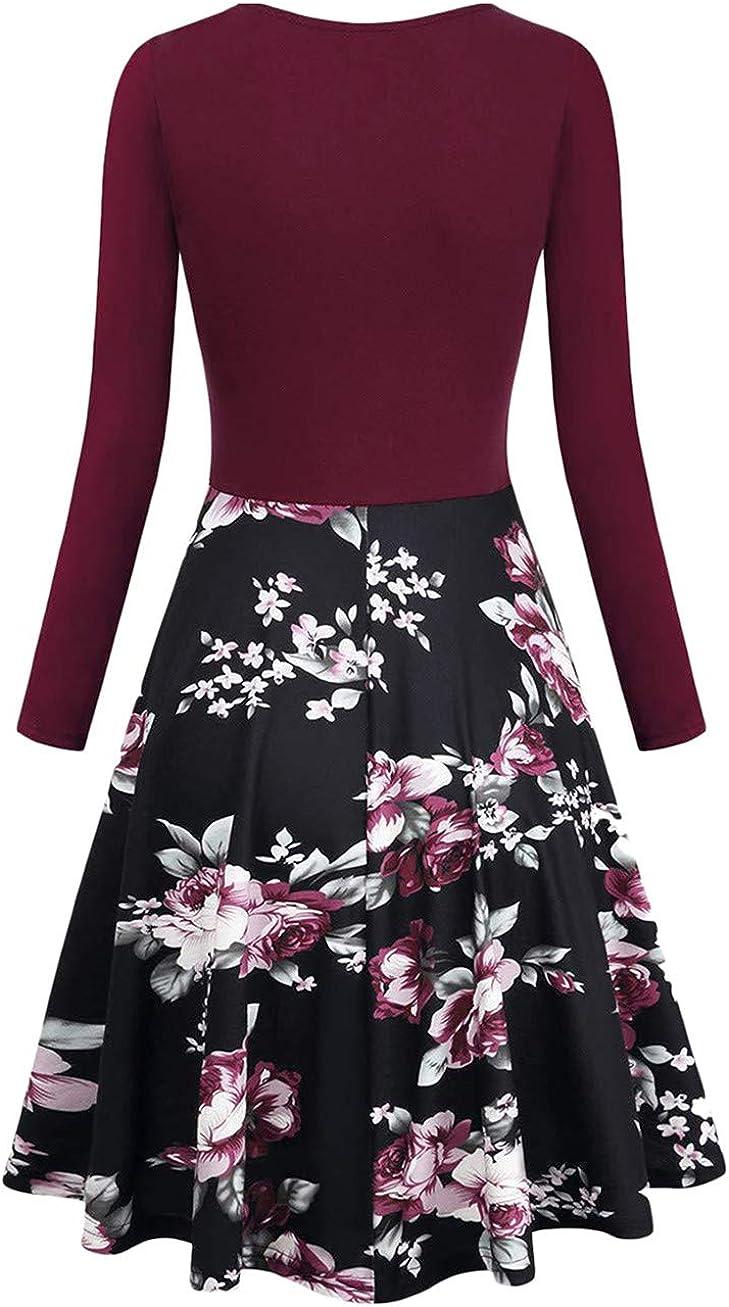 YMING Damen Audrey Elegantes einfarbiges Kleid Lange /Ärmel Kleid mit V-Ausschnitt Party Cocktail Prom Knielanges Kleid