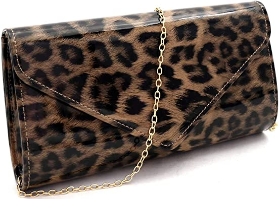 Ladies Faux Leather Leopard Print Handbag Lock Shoulder Bag Tote Bag