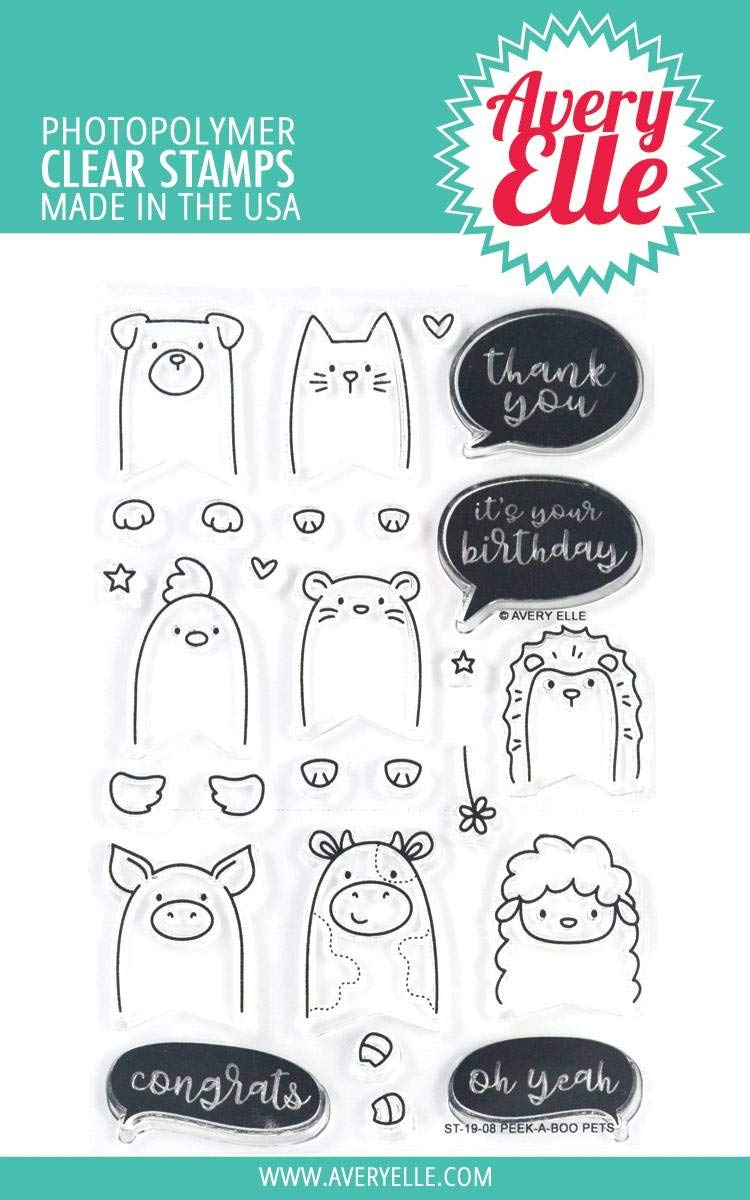Avery Elle ST-19-08 Clear Stamp Peek-A-Boo Pets