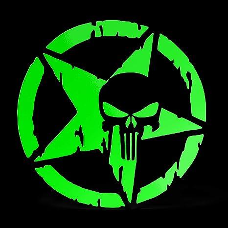 Erreinge Aufkleber Punisher Stern Militärarmee Grün Fluoreszierendes Schriftzug In Pvc Wandwand Aufkleber Für Helm Auto Moto Camper Laptop 35 Cm Baumarkt