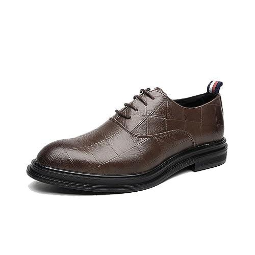 IWGR Zapatos de Cuero de PU de Negocios para Hombres Mocasines con Cordones clásicos Textura Cuadrada Suela Fuerte Oxfords Transpirable: Amazon.es: Zapatos ...
