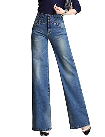 7098b8b57eaf QCHENG Femme Jeans Bootcut Taille Haute Push Up Evasée Jambe Large Pantalons  en Denim Confortable Casual