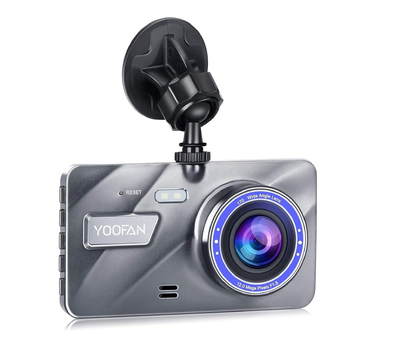 Cámara Dual Frontal y Cámara Trasera 1080P FHD para Coche de YOOFAN, Cámara para Vehículo DVR, Construida en Sensor G, Visión Nocturna, LCD de 4', 170 ° de Gran Angular, Monitoreo de Estacionamiento Visión Nocturna