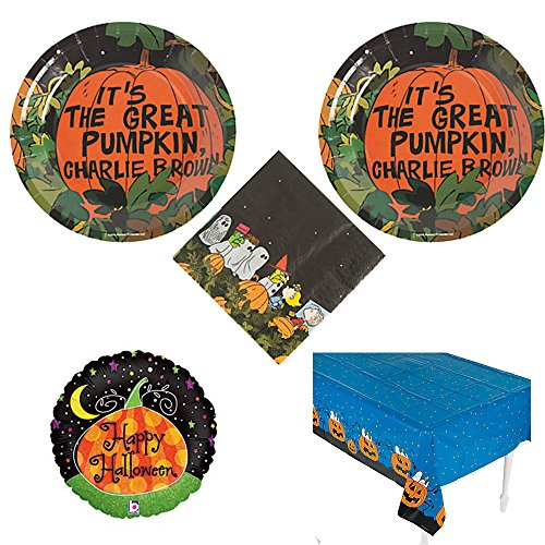 Peanuts Halloween Party Pack for 16 guests, cake plates, napkins, (Peanuts Great Pumpkin)