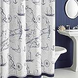 Nautical Shower Curtains DS BATH Aviation Nautical Shower Curtains,Mildew Resistant Microfiber Fabric Shower Curtain,Navy Shower Curtains for Bathroom,Print Bathroom Curtains,Waterproof Decorative Bath Curtains,72