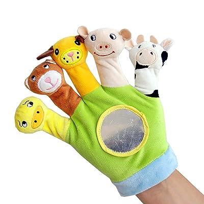 farawamu Hand Puppet, Cute Cartoon Gloves Animal Plush Finger Toy Children Educational Hand Puppet Green: Sports & Outdoors