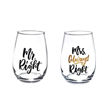 Mr.Right and Mrs Always Right Wine Glass sets of 2 for wedding gifts, engagement gifts, and anniversary gifts.