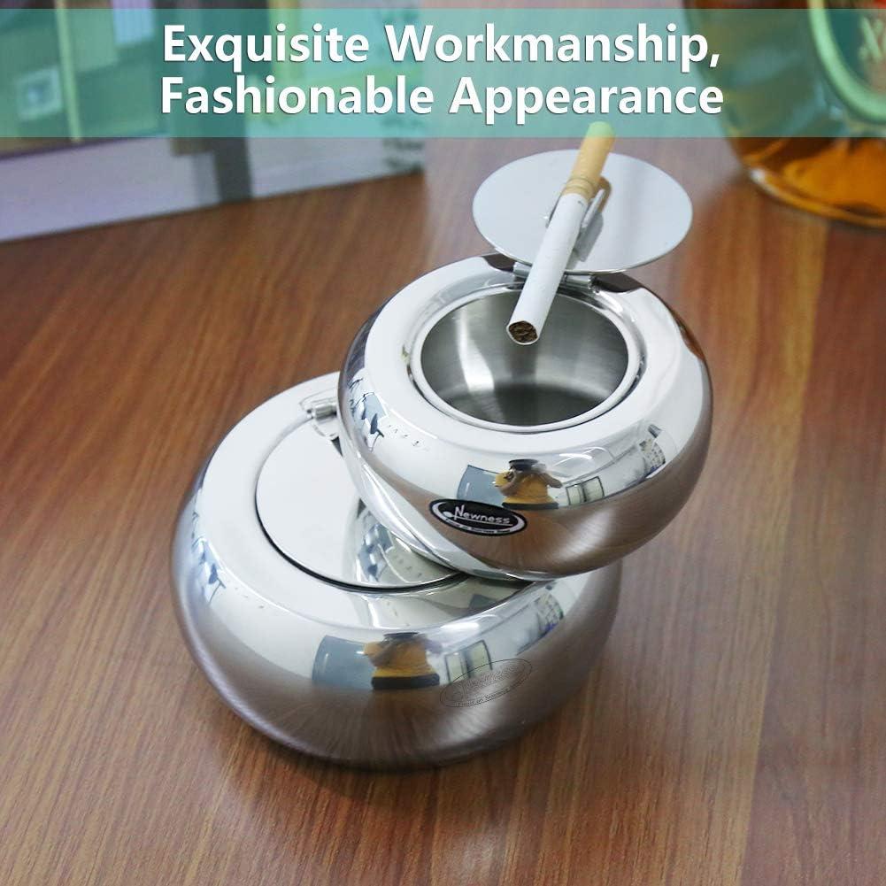 Parfait pour la Maison ou Le Bureau Grande Taille Newness Cendrier de Table Moderne en Acier Inoxydable avec Couvercle pour Utilisation int/érieure ou ext/érieure