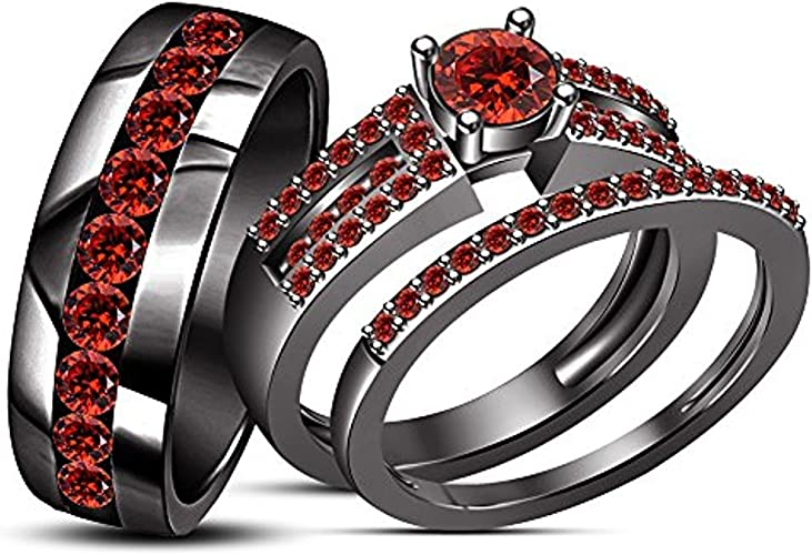 Engagement Ring  925 Sterling Silver Red Garnet Square Cut Women Band Ring