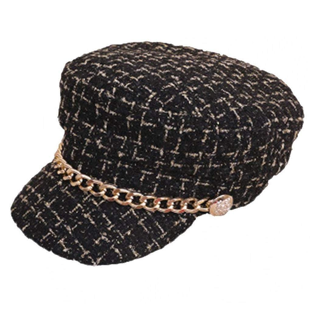 Aisoway Octogonales Sombreros a Cuadros del Vendedor de periódicos de la Boina con la Cadena del Metal del Oro de Las señoras de