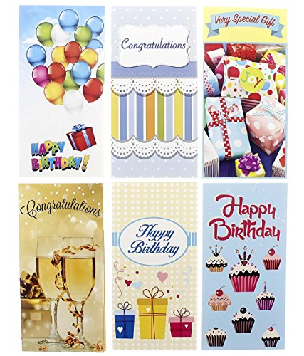 Colorful Birthday & Congratulations Money Greeting Cards - 6 Assorted Photography Designs for Birthday or Graduations, Envelopes Included - 36 Pack