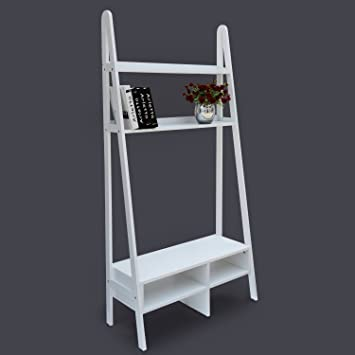 HomCom Leaning Ladder Bookcase Entertainment Center TV Stand