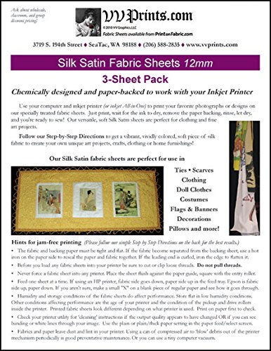 Inkjet Printable Silk Satin Fabric Sheets 3-sheet Pack