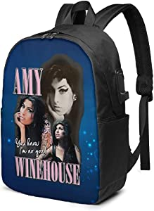 Amy Winehouse Outdoor Bag USB Interface Travel Laptop Backpack