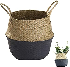Handmade Woven Rattan Seagrass Tote Belly Basket, Plant Pots Cover Indoor Decorative, Also for Storage, Laundry, Picnic and Garden Flower Vase (Medium, Black)