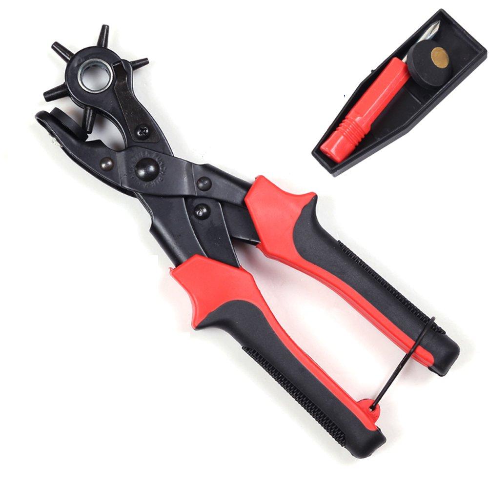 Japace/® 6 en 1 Pince /à percer rotative Bande Montre bracelet en cuir Belt perforation Pinces Hole Punch Outils--Hole