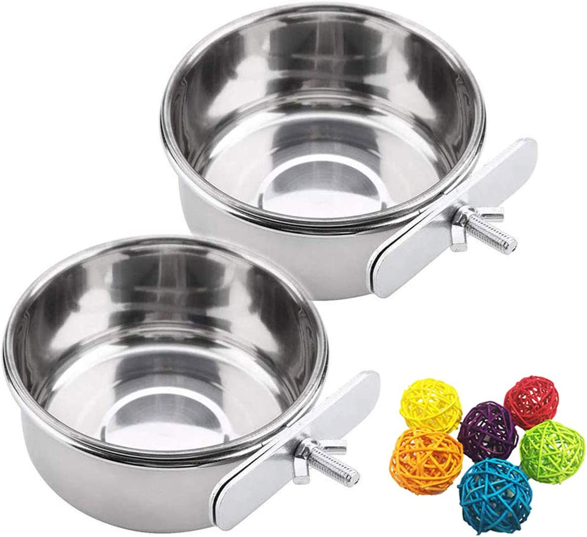 N/Y 2 Pack Bird Parrot Feeding Cups with Clamp, Food & Water Cage Hanging Bowl Stainless Steel Coop Cup Feeding Dish Feeder, with 2Pcs Rattan Balls Bird Chew Toy for Small Animal, Cockatiel and More