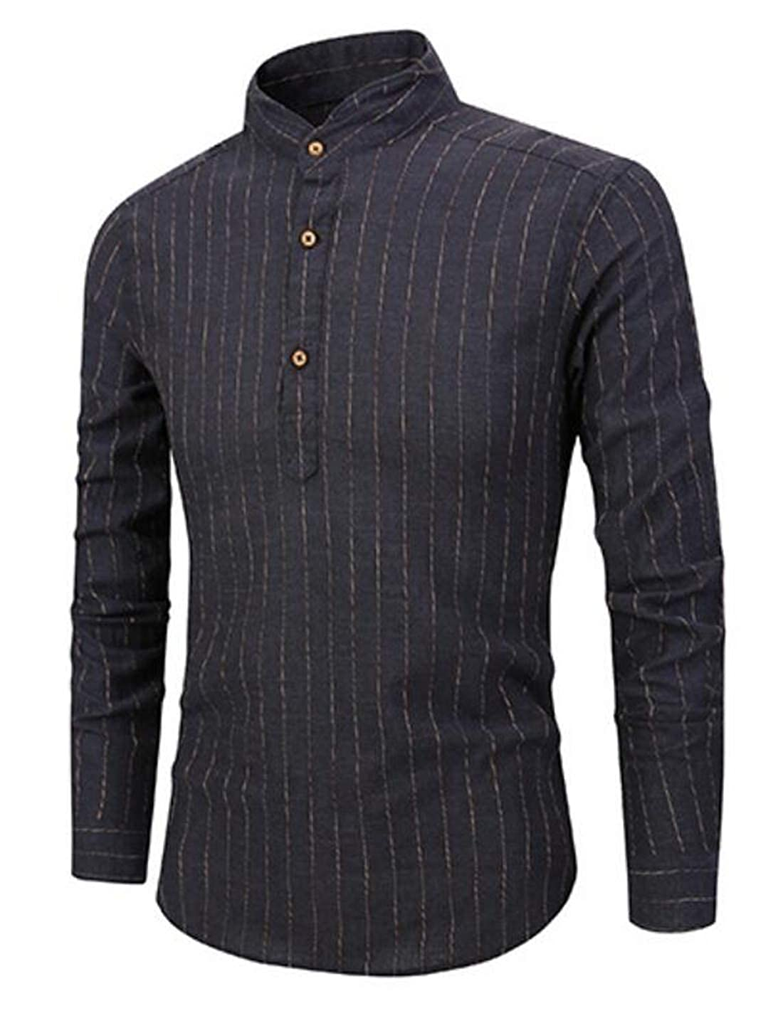 Yaolor Men Slim Long Sleeve Mandarin Collar Vertical Stripe Button Down Shirts
